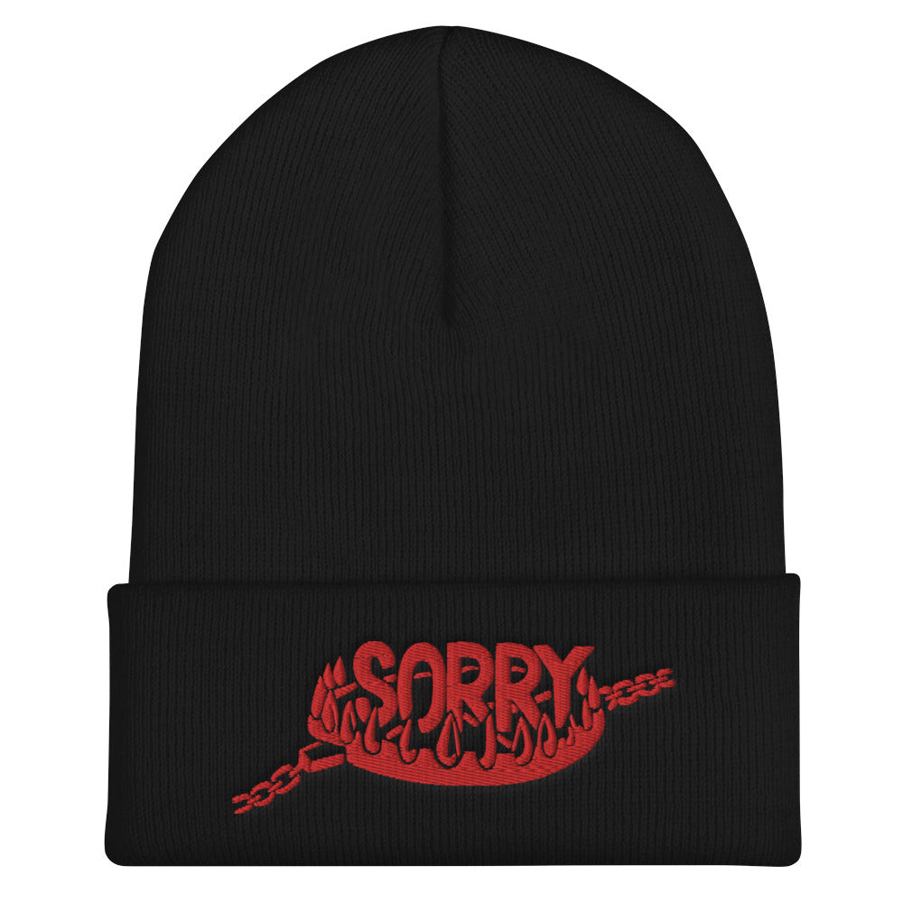 """Sorry"" Cuffed Beanie - Red Embroidery"
