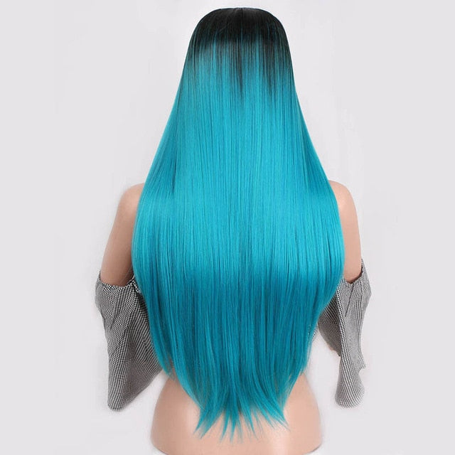 Long Straight Wig - Ombre, Solid, Pastel 24 In