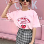 Loose Strawberry Milk T-Shirt