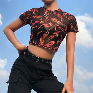 Flame Sheer Short-Sleeve Crop Top