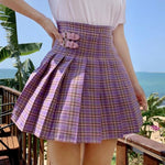 High-Waisted Mini Pleated Skirt - Purple