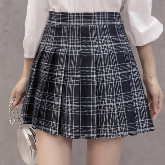 Preppy Plaid Pleated Skirt - Various Colors - Plus Sizes