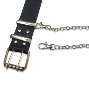 Detachable Punk Leather Belt & Chain