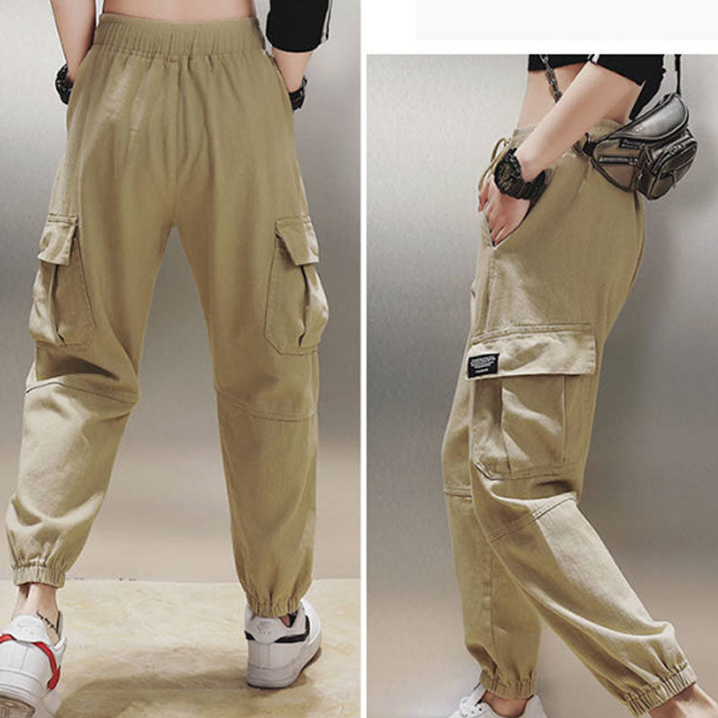 Brand Name: TDDPSSHDP Length: Ankle-Length Pants Material: Polyester Model Number: CO772 Pattern Type: Solid Style: Casual Pant Style: Cargo Pants Closure Type: Elastic Waist Front Style: Flat Waist Type: High Fabric Type: Broadcloth Fit Type: REGULAR Decoration: Pockets