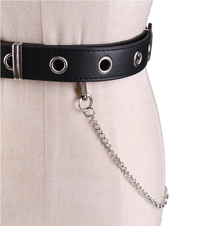 Punk Leather Belt with Metal Trimming & Link Chain