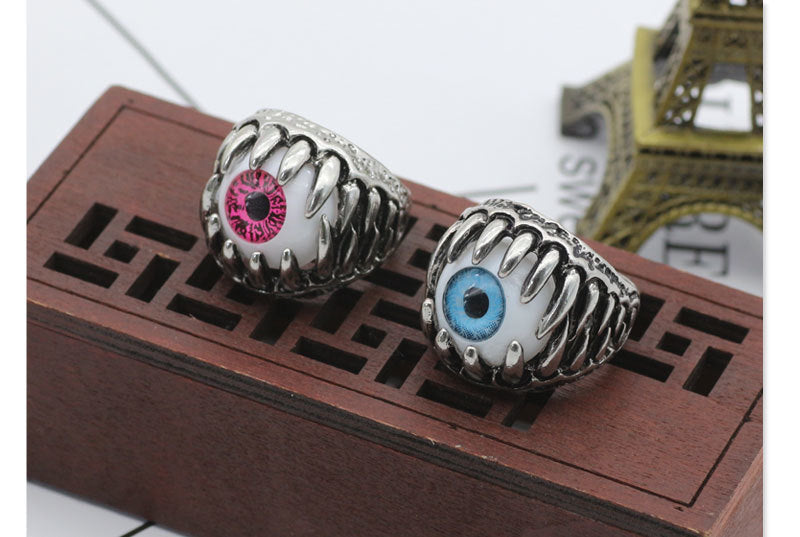 Metal Claw & Evil Eye Ring - Blue