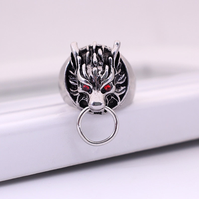 Metal Retro Wolf Dragon Ring