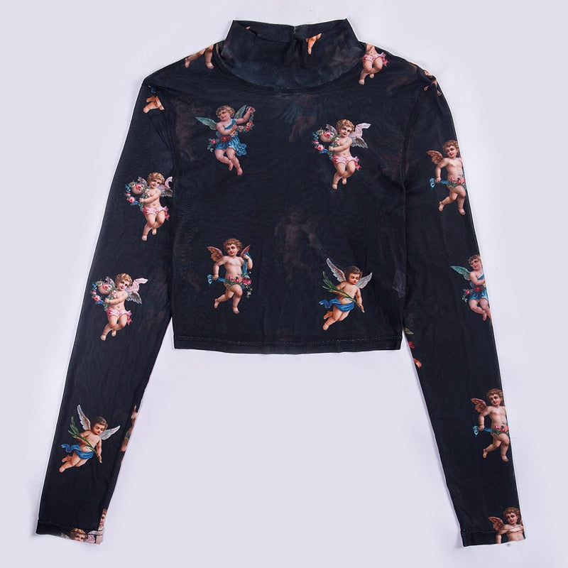 Angel Printed Sheer Long-Sleeve Crop-Top