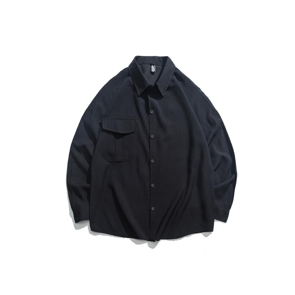 Solid Over-sized Long-Sleeve Button Down - Black, White