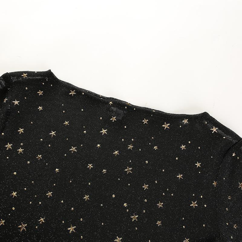 """Night Sky"" Sheer Long-Sleeve Crop Top"
