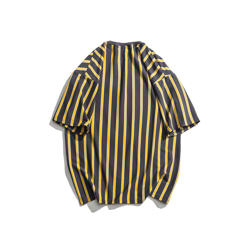 """Overload"" Striped Loose Top- Yellow/Black, Orange/Blue"
