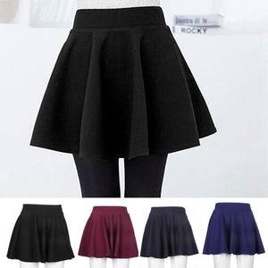 High Waist Mini Skirt - Black/Red/Blue/Navy
