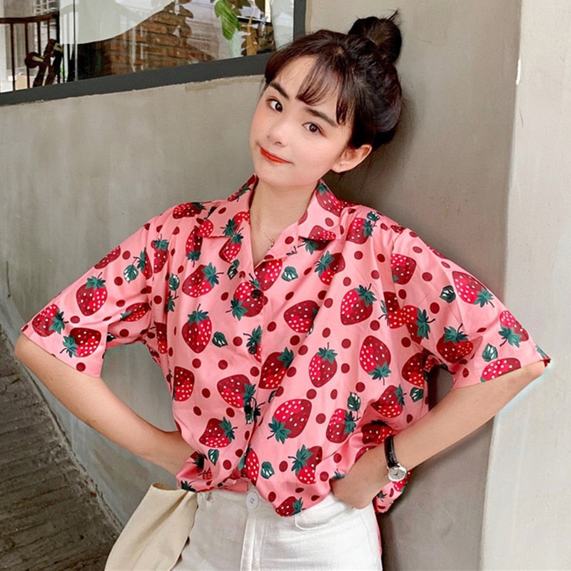 Over-Sized Strawberry Button Down
