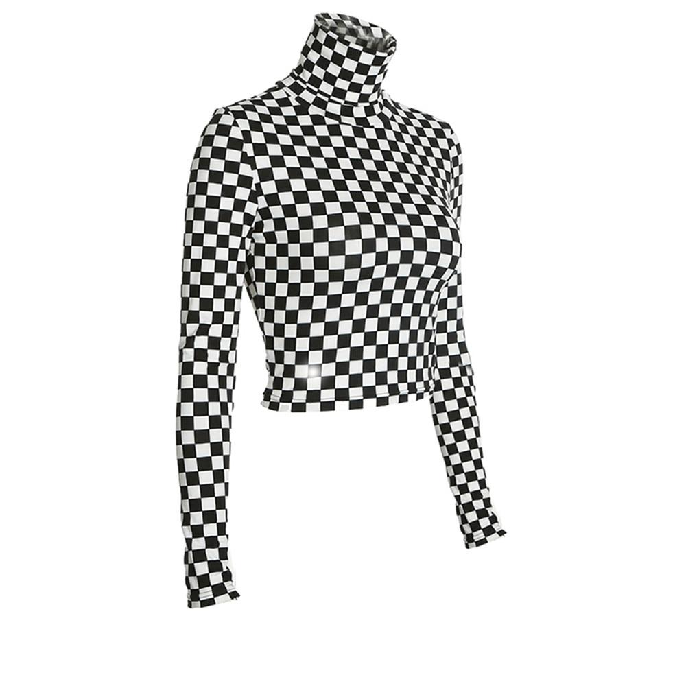 Item Type: Tops Tops Type: Tees Gender: Women Collar: Turtleneck Model Number: BA01093 Sleeve Length(cm): Full Pattern Type: Plaid Material: Polyester Material: COTTON Decoration: NONE Style: Sexy & Club Clothing Length: Short Brand Name: Liva girl Fabric Type: Broadcloth Sleeve Style: REGULAR Product Name: High Neck Long Sleeve Slim T-shirt keyword: Turtleneck Long Sleeve Plaid Short Tees Occasion: Streetwear, out going, party Style: Women's t-shirts Fabric: Fabric has some stretch Material: Cotton Blends