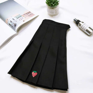 Strawberry High-Waisted Pleated Skirt - Black, Grey
