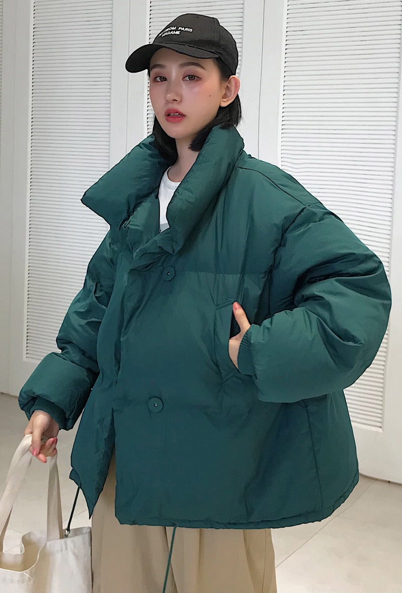Puffy Oversized Jacket - Red, Green, Black, White