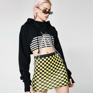 Chained Hooded Long-Sleeve Crop Top - Red, Checker, Black