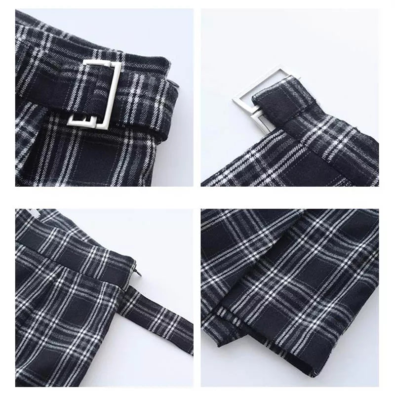 Black Plaid A-Line Skort W/ Belt