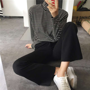 Striped Black & White Long-Sleeve Turtleneck