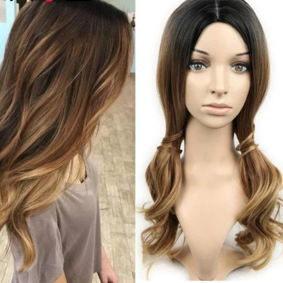 Natural Ombre, Long Wavy Wig - Various Colors 18 In