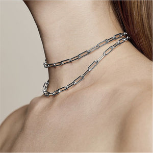Simple Short Collar Chain Necklace Unisex - Gold, Silver