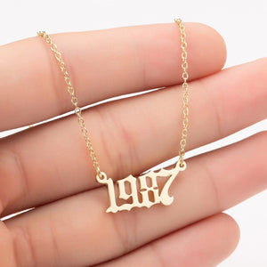 Year Number Necklace -  1980 to 2005