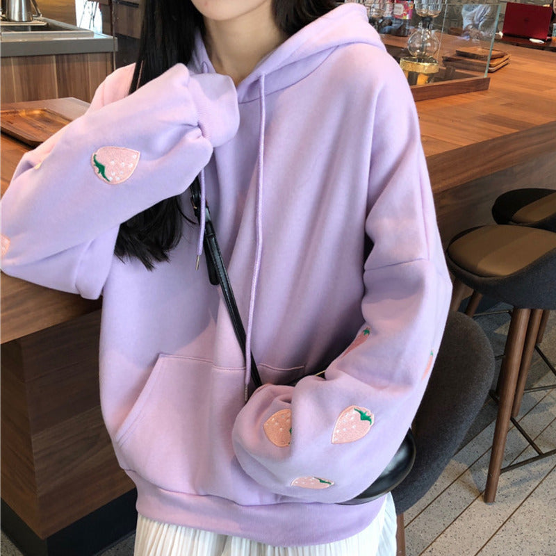 Pink Strawberry Hoodie - Lavender, White