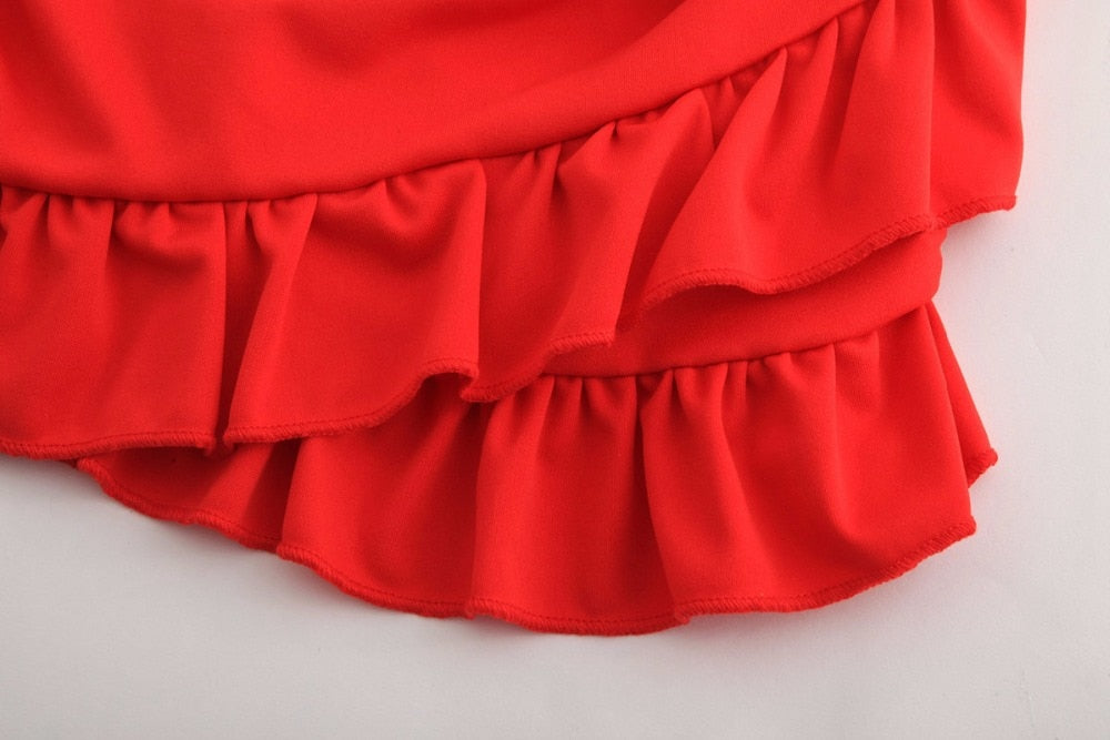 Red Ruffled Summer Set (Skirt & Crop Top)