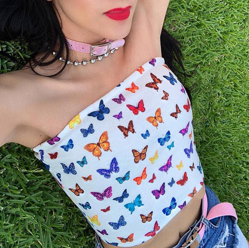 Butterfly Strapless Crop Top - White, Black