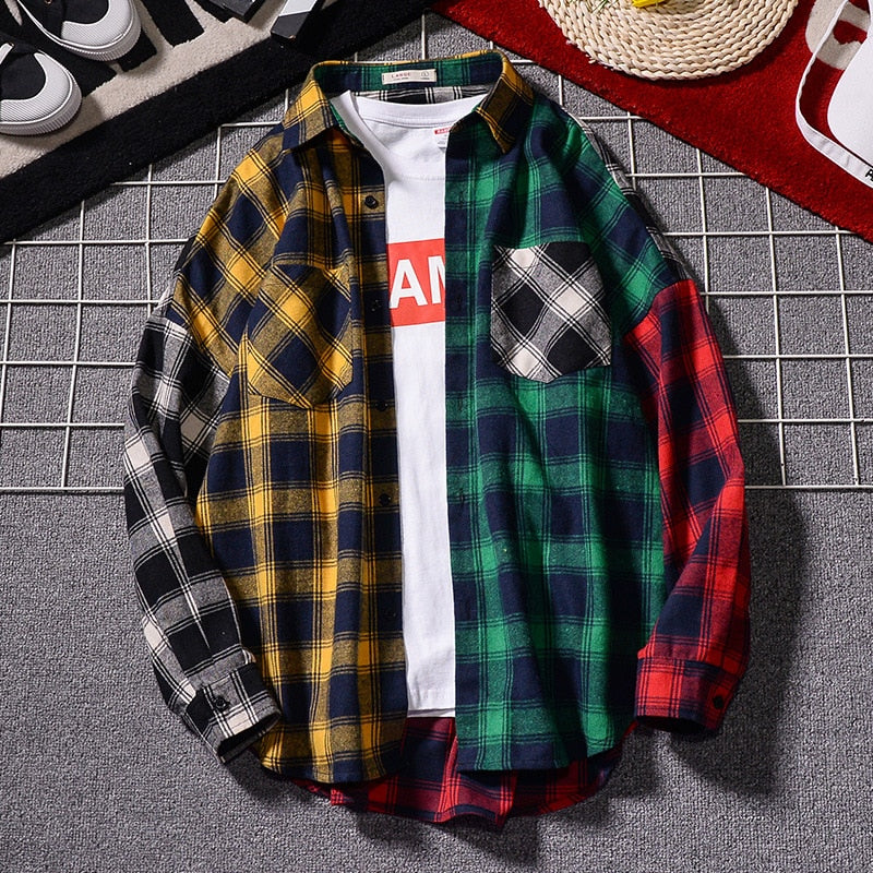 Color-block Plaid Long Sleeve Flannel
