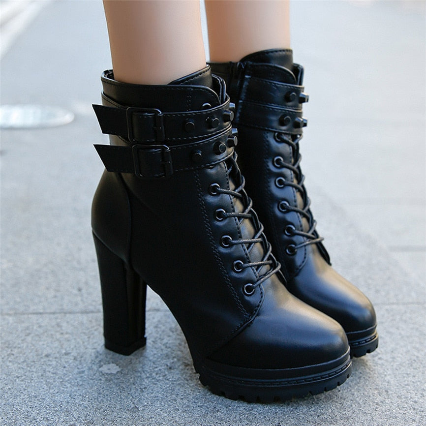 Bota Feminina: Vintage Ladies Low Heel Zip Slip Booties Women Shoes: Over the knee high heel boots ladies high boots European and American style: Slip On Women Causal Ankle Boots Botas Women: Woman Creepers Rubber Flats Plus size Platform Shoes: Black Patent Leather Ankle Boots