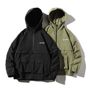 """Active"" Windbreaker - Black, Olive"