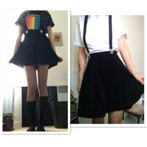 Strapped Black Velvet Skirt
