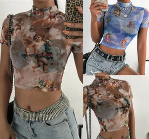 Angel Printed Short Sleeve Crop-Top
