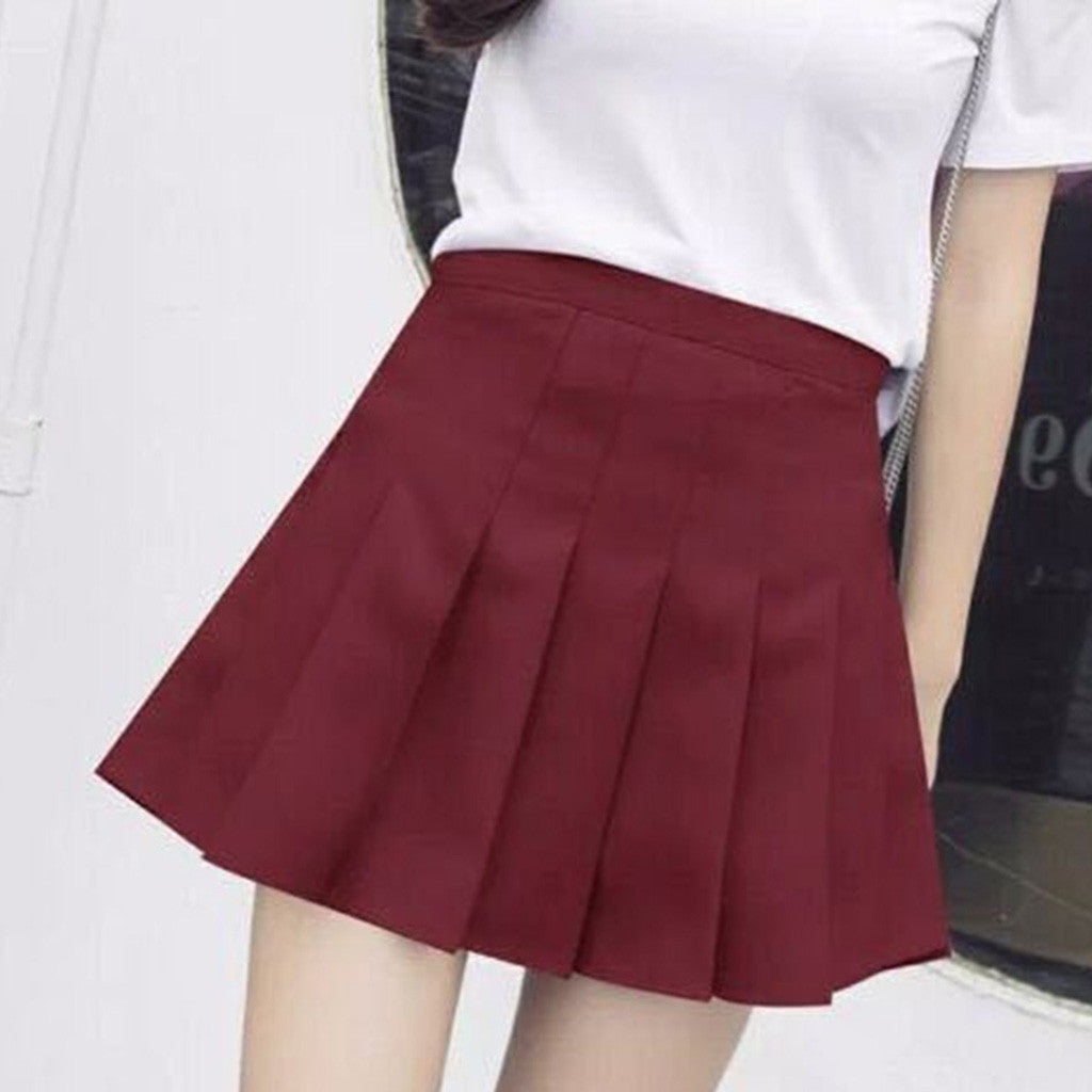 Solid High-Waisted Pleated Skirt - Black, Pink, White, Red, Blue