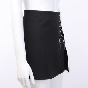 Pitch Black Cross Chained Short Skirt