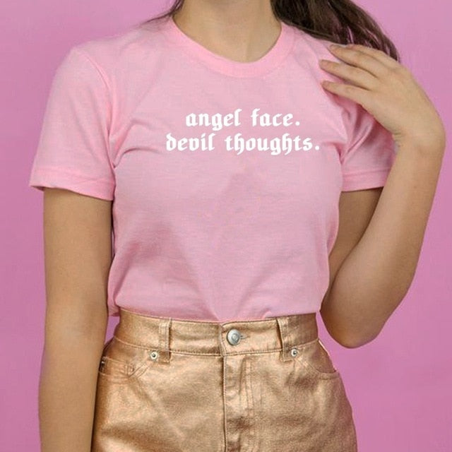 """Angel Face Devil Thoughts"" T-Shirt - Black/Red, Pink/White, White/Black"