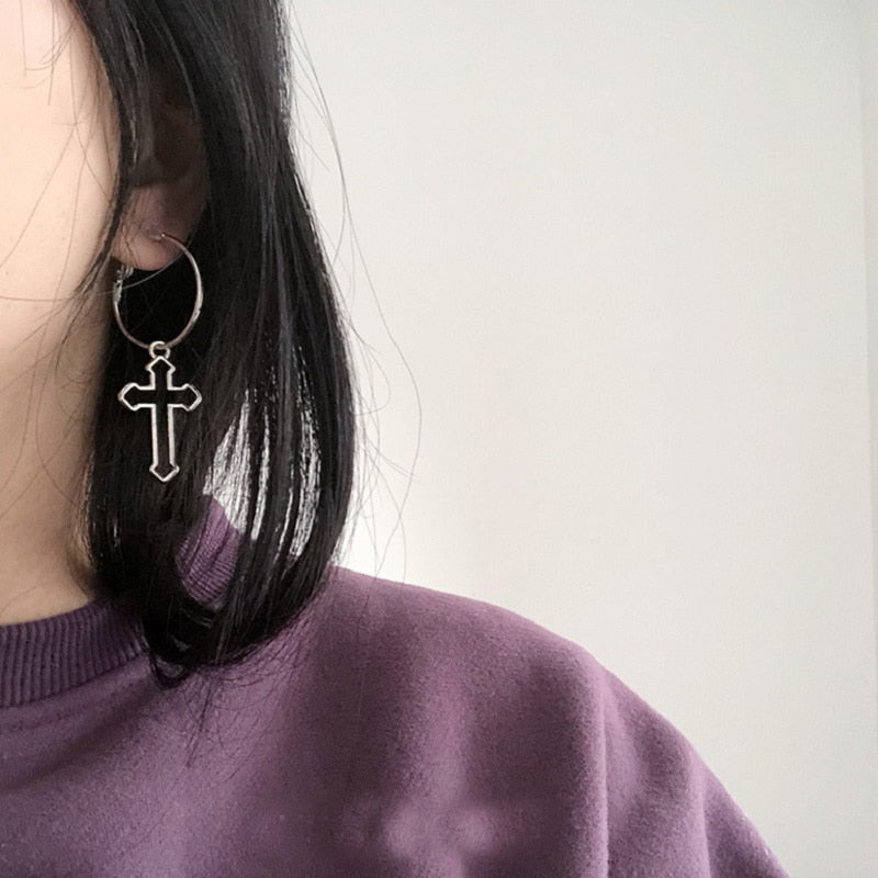 Hollow Cross Dangle Earrings