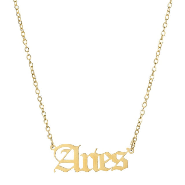 Aries - Zodiac Letter Necklace