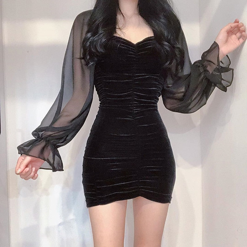 Goth V-Neck Slim Mini Dress