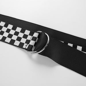 Punk Checkered Canvas Belt - Long Waistband