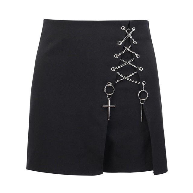 Material: Polyester Material: Cotton Waist Type: High Gender: WOMEN Item Type: Shorts Material Composition: Cotton Fit Type: REGULAR Decoration: Hollow Out Decoration: Sequined Decoration: Criss-Cross Pant Style: Shorts Skirts Pattern Type: Patchwork Style: Gothic Model Number: 92133 Closure Type: Zipper Fly