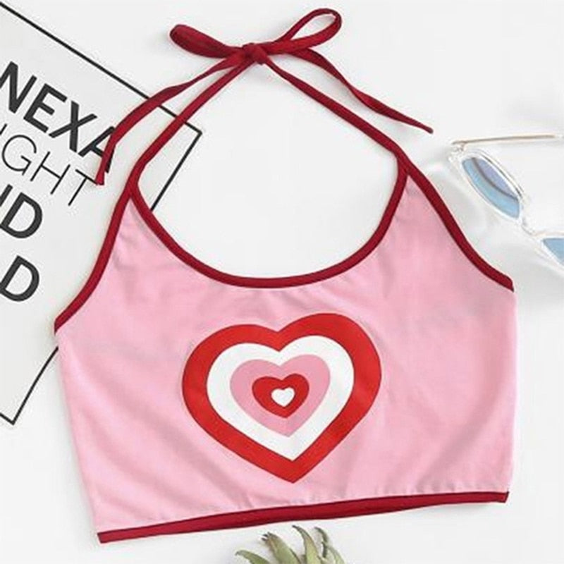 Cute Heart Silhouette Halter Crop Top