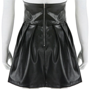 High Waisted Corset Leather Skirt