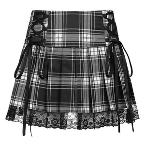 Goth Stripped Pleaded Skirt