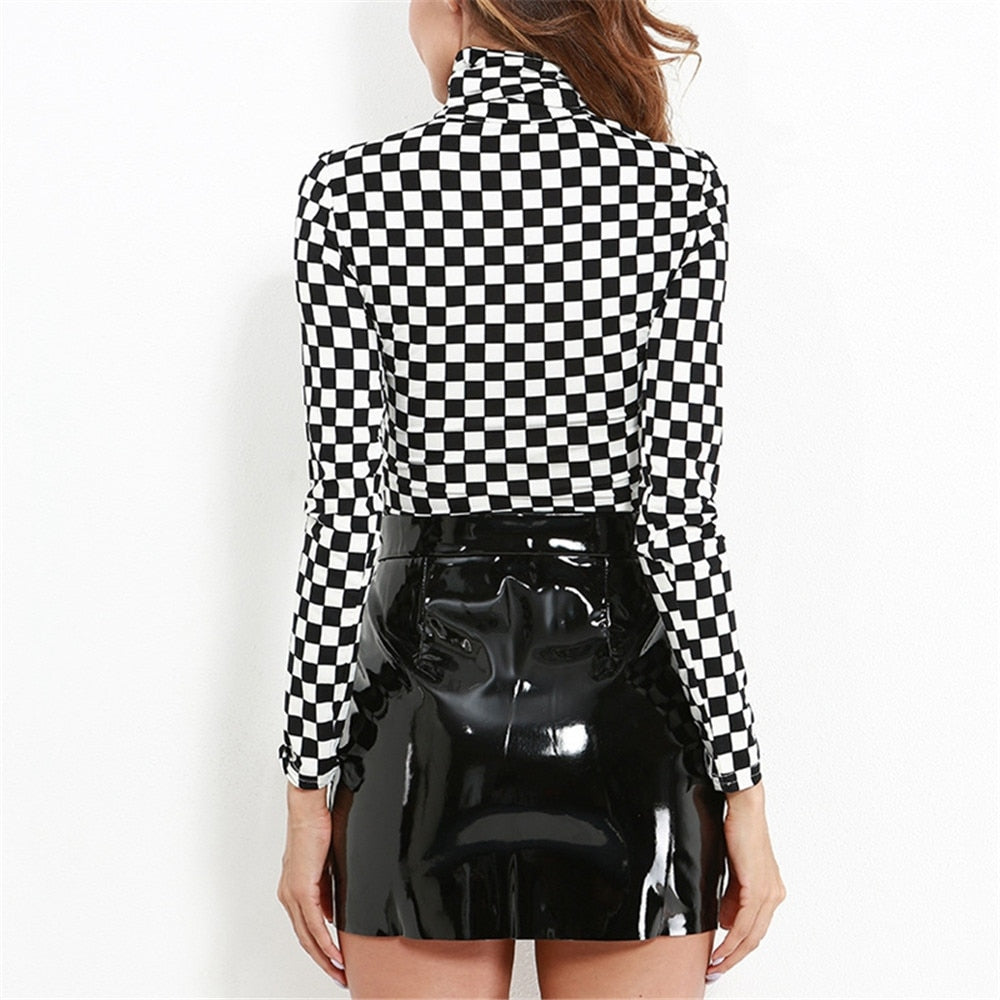 Checkered Turtle Neck Long-Sleeve Crop Top