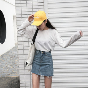 Above Knee Denim Skirt