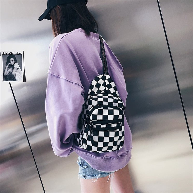 Checkered Black and White Bag