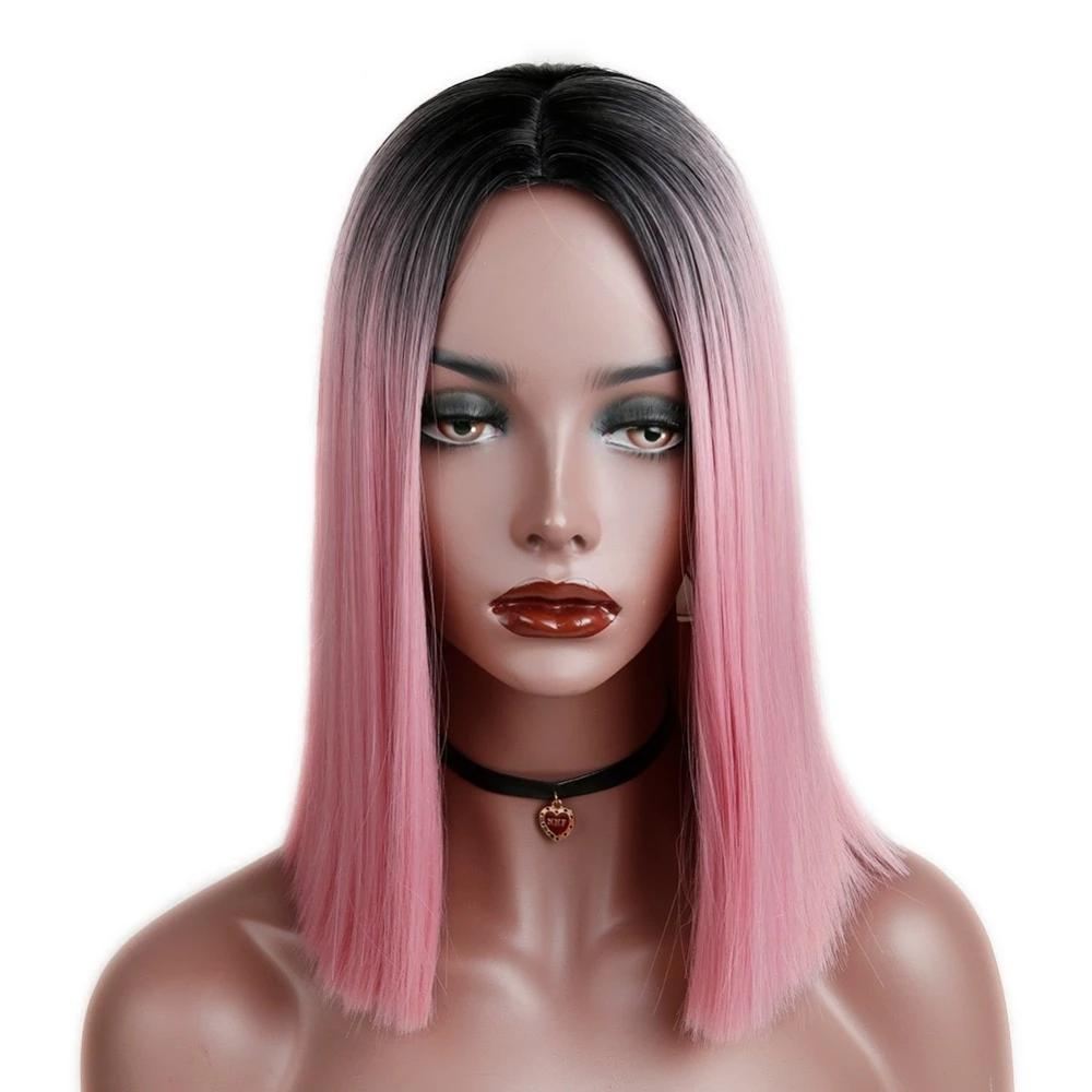 Ombre Short Straight Heat-Resistant Wig - Pink, Mint
