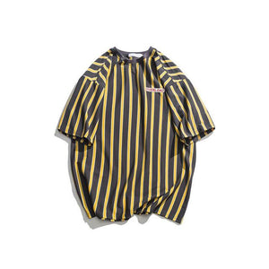 Brand Name: dark icon Gender: Men Item Type: Tops Tops Type: Tees Sleeve Length(cm): Short Style: High Street  Collar: O-Neck Sleeve Style: regular Pattern Type: Striped Hooded: No Fabric Type: Jersey Sale by Pack: No
